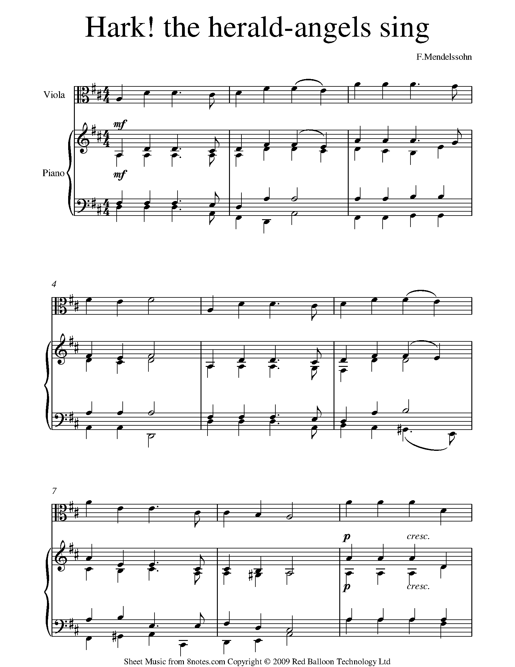 mendelssohn - hark the herald angels sing sheet music for viola - 8notes.com  8notes