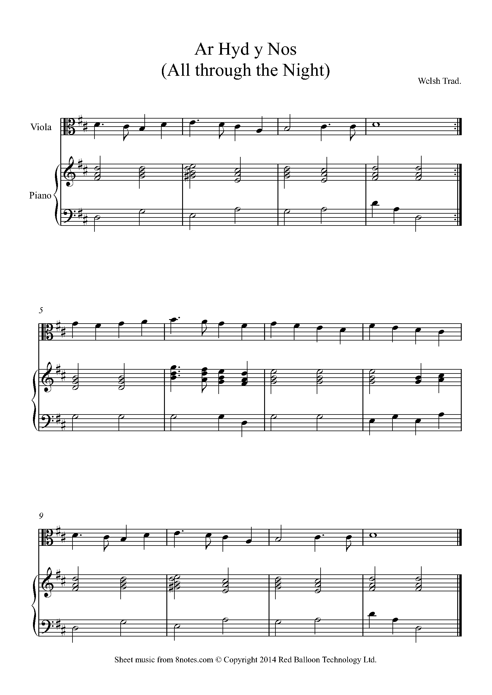 ar hyd y nos -all through the night (traditional welsh) sheet music for  viola - 8notes.com  8notes
