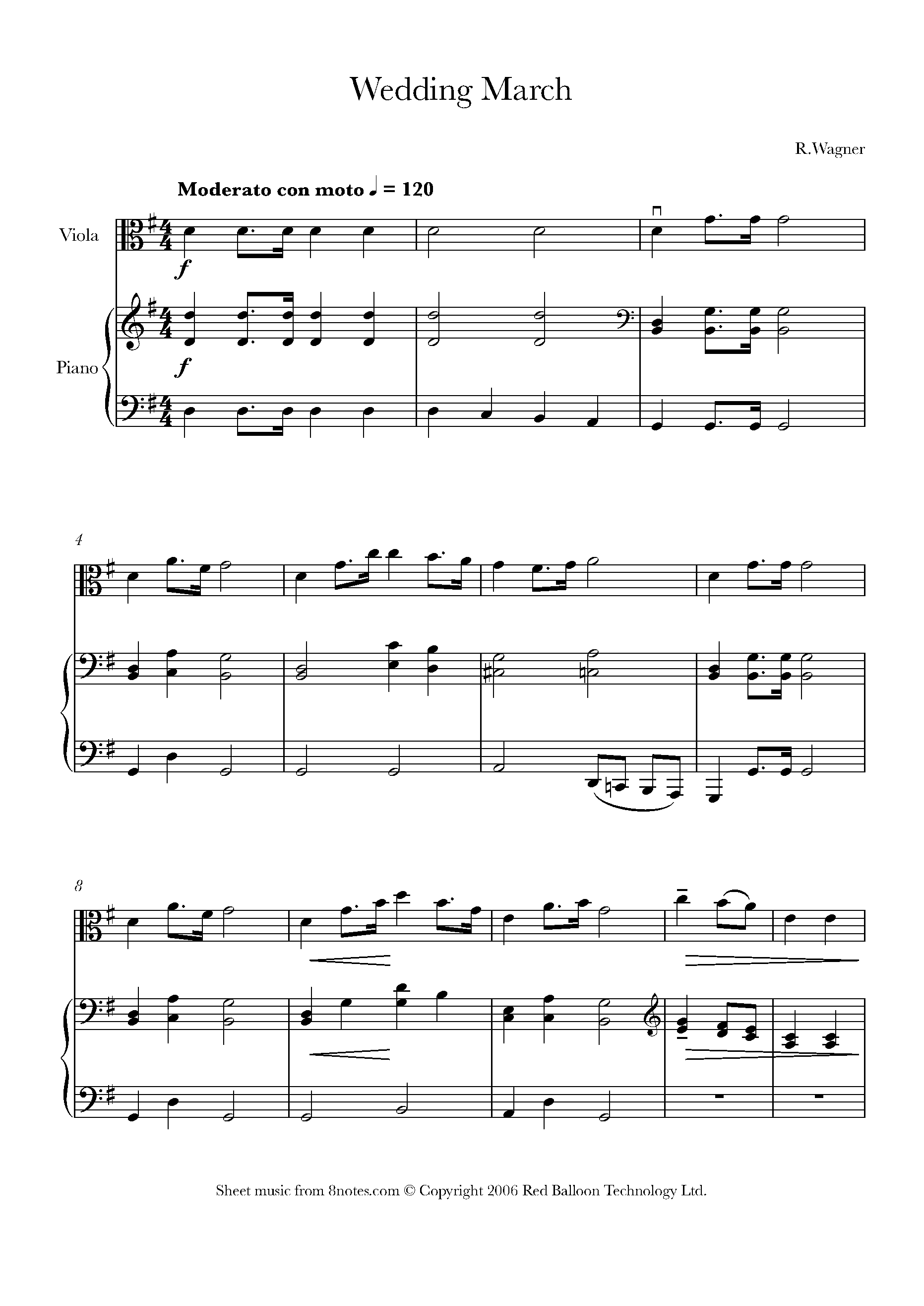 Wagner   Wedding March Sheet music for Viola   15notes.com