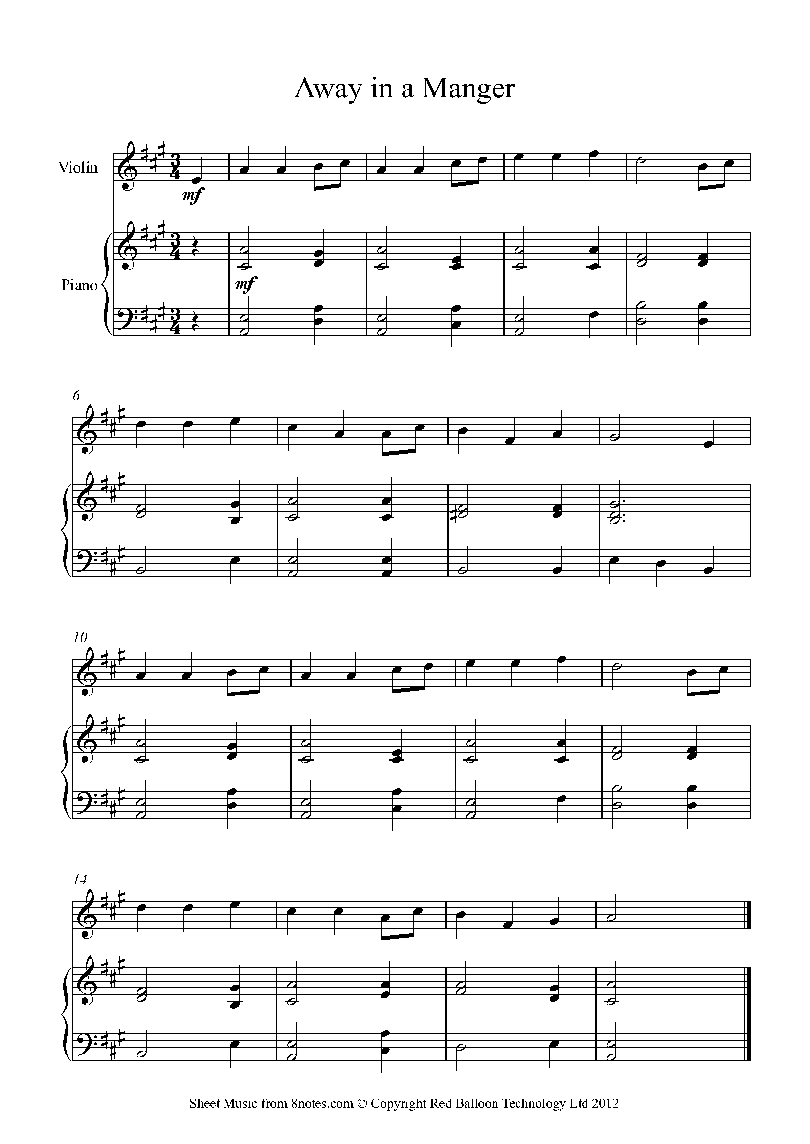 away in a manger sheet music for violin - 8notes.com  8notes