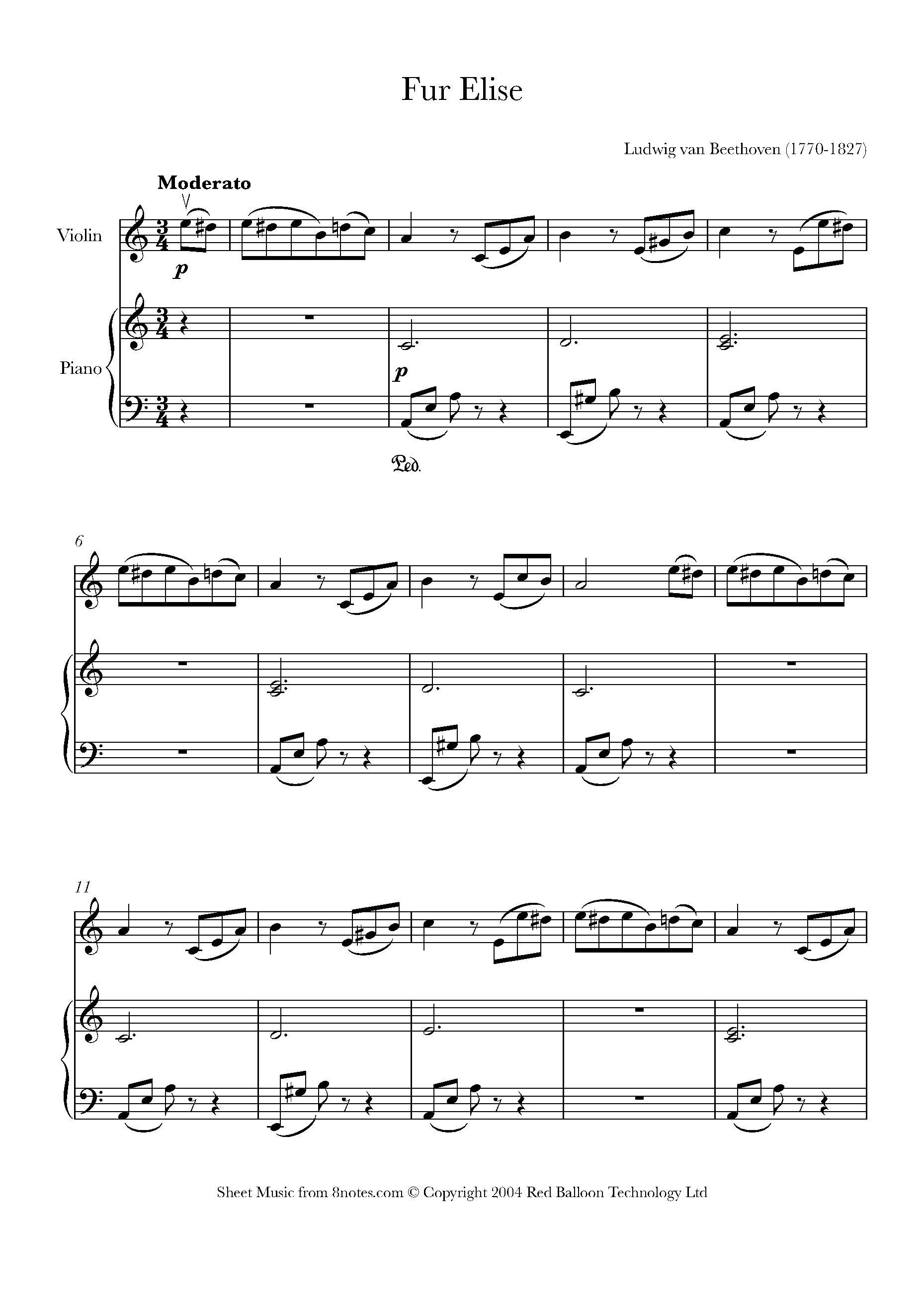 Beethoven - Fur Elise sheet music for Violin - 8notes com