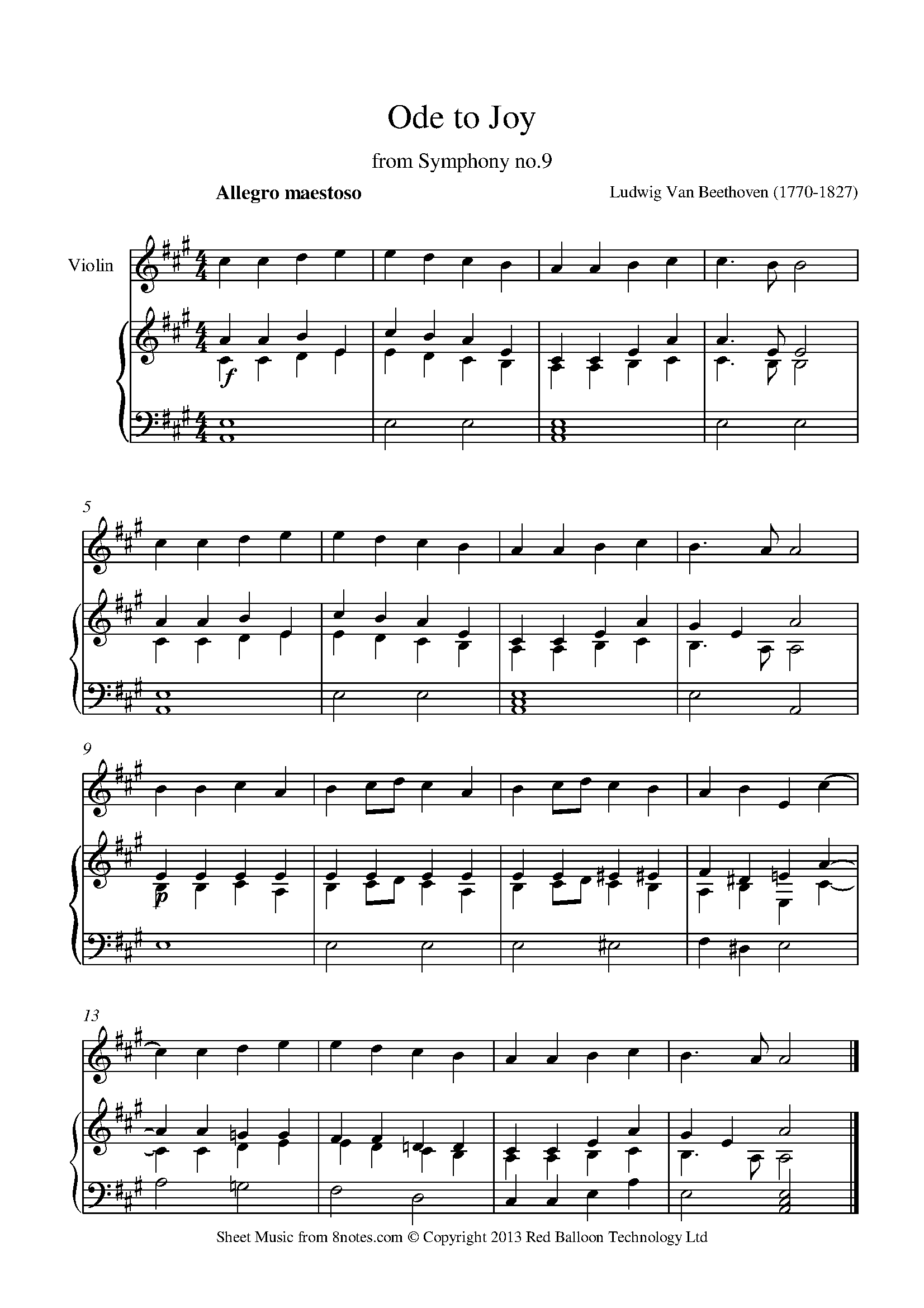 Beethoven Theme From Ode To Joy Sheet Music For Violin 8notes