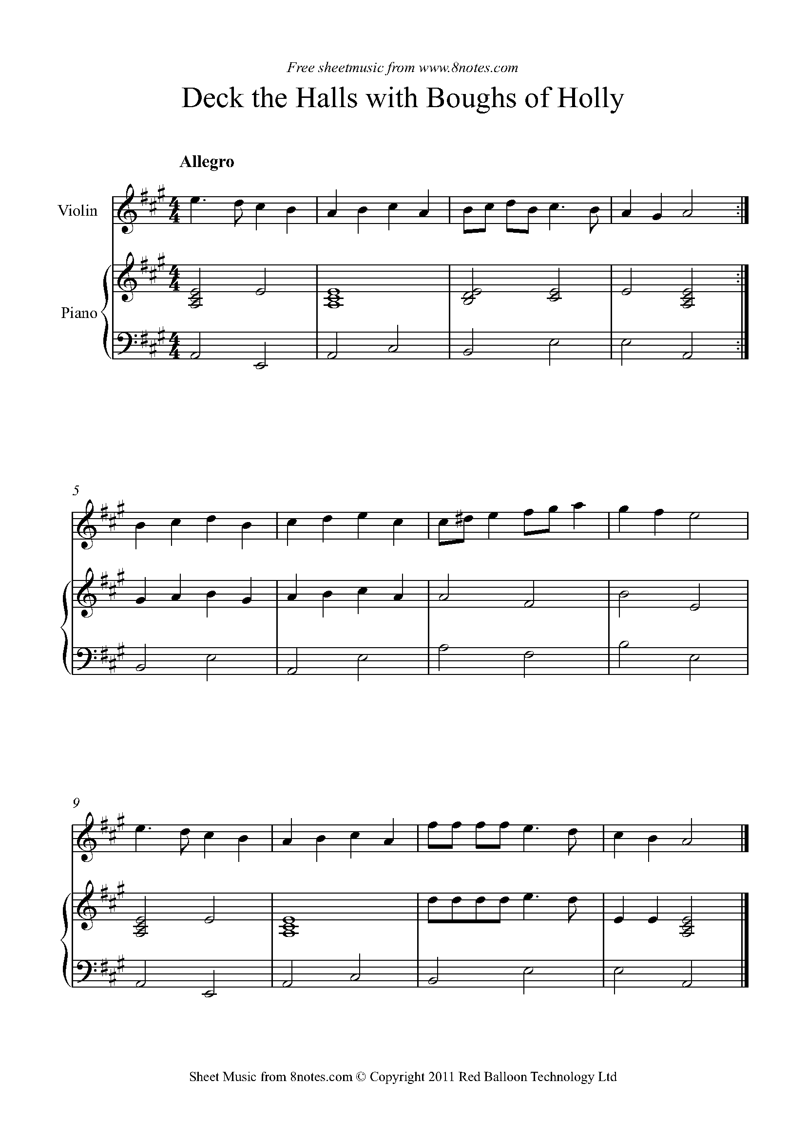 deck the halls with boughs of holly sheet music for violin - 8notes.com  8notes