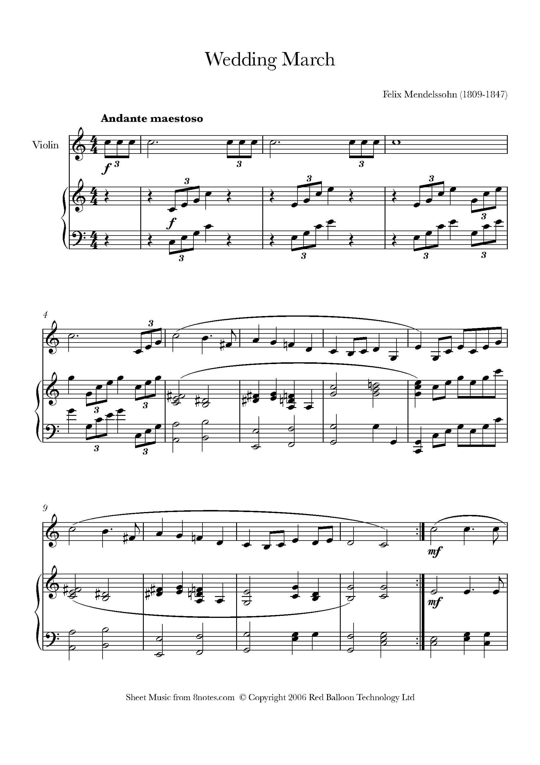 Mendelssohn Wedding March From Midsummer Nights Dream Sheet Music For Violin 8notes Com