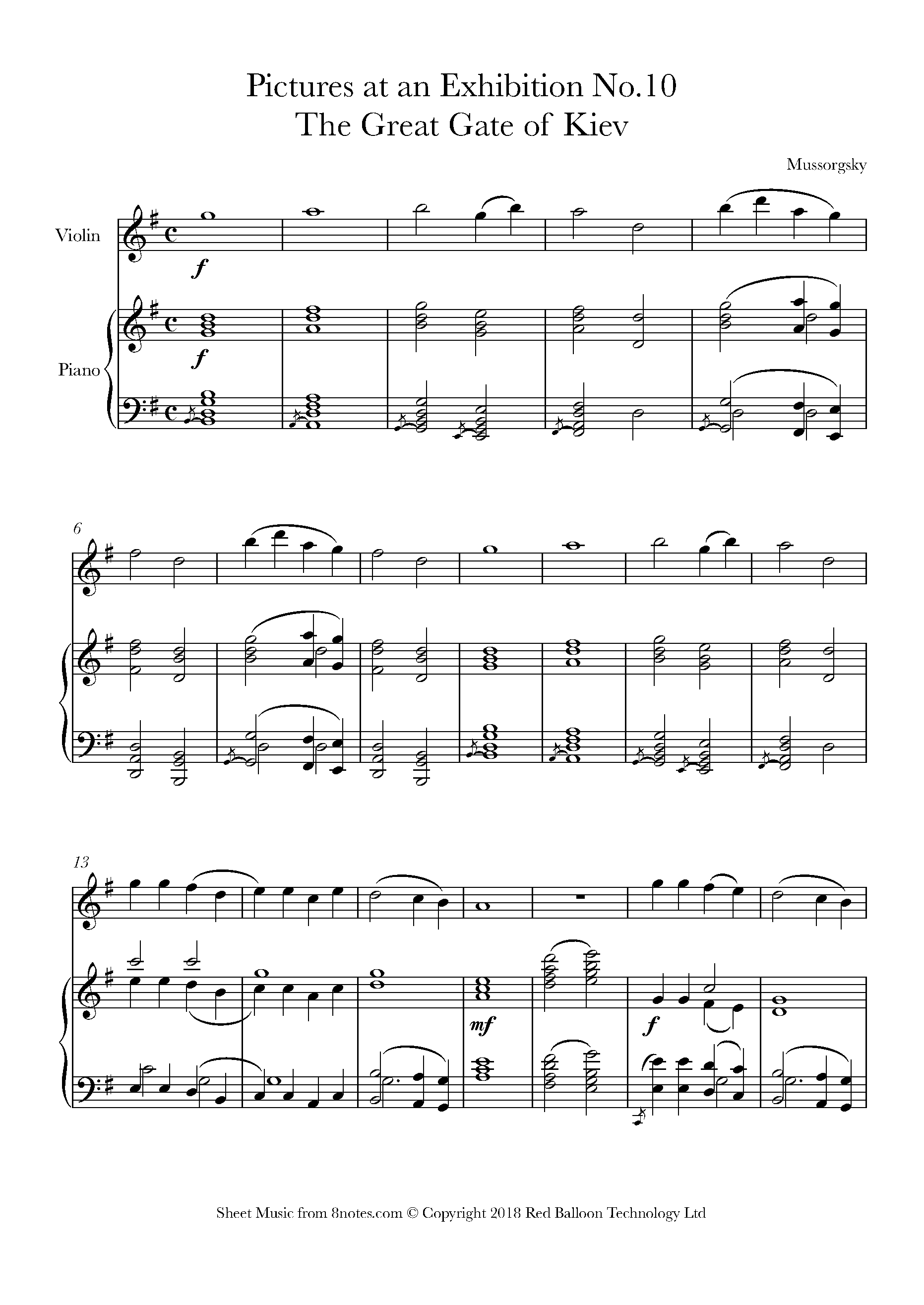 mussorgsky - pictures at an exhibition no.10 - the great gate of kiev sheet  music for violin - 8notes.com  8notes