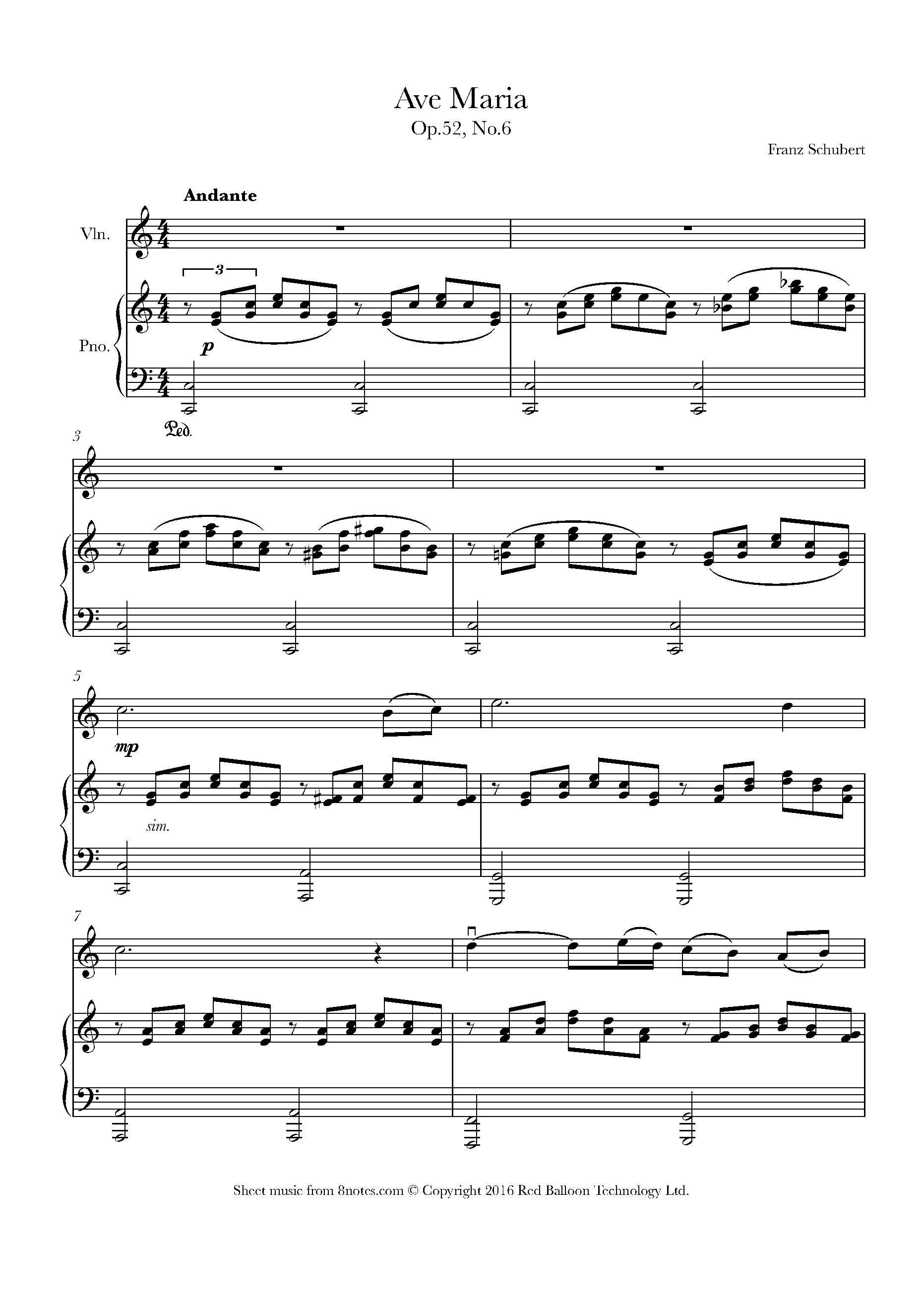schubert - ave maria sheet music for violin - 8notes.com  8notes