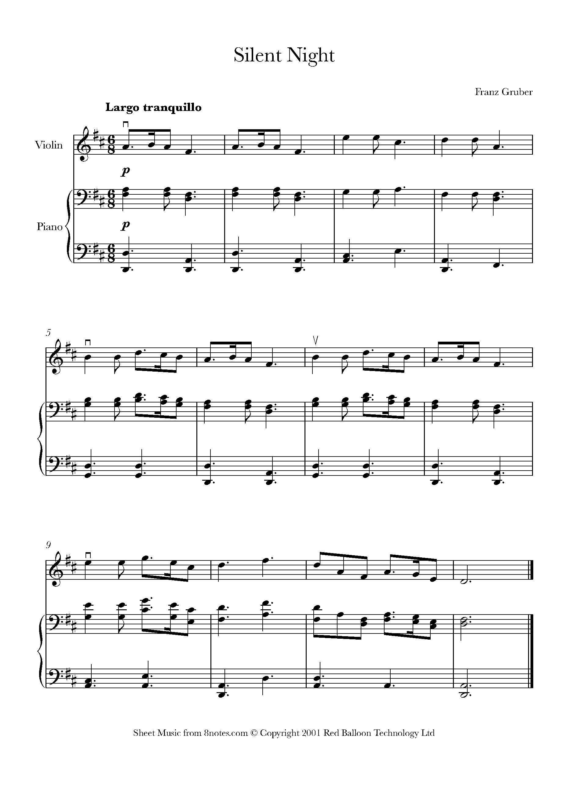 Silent Night Sheet Music For Violin 8notes Com