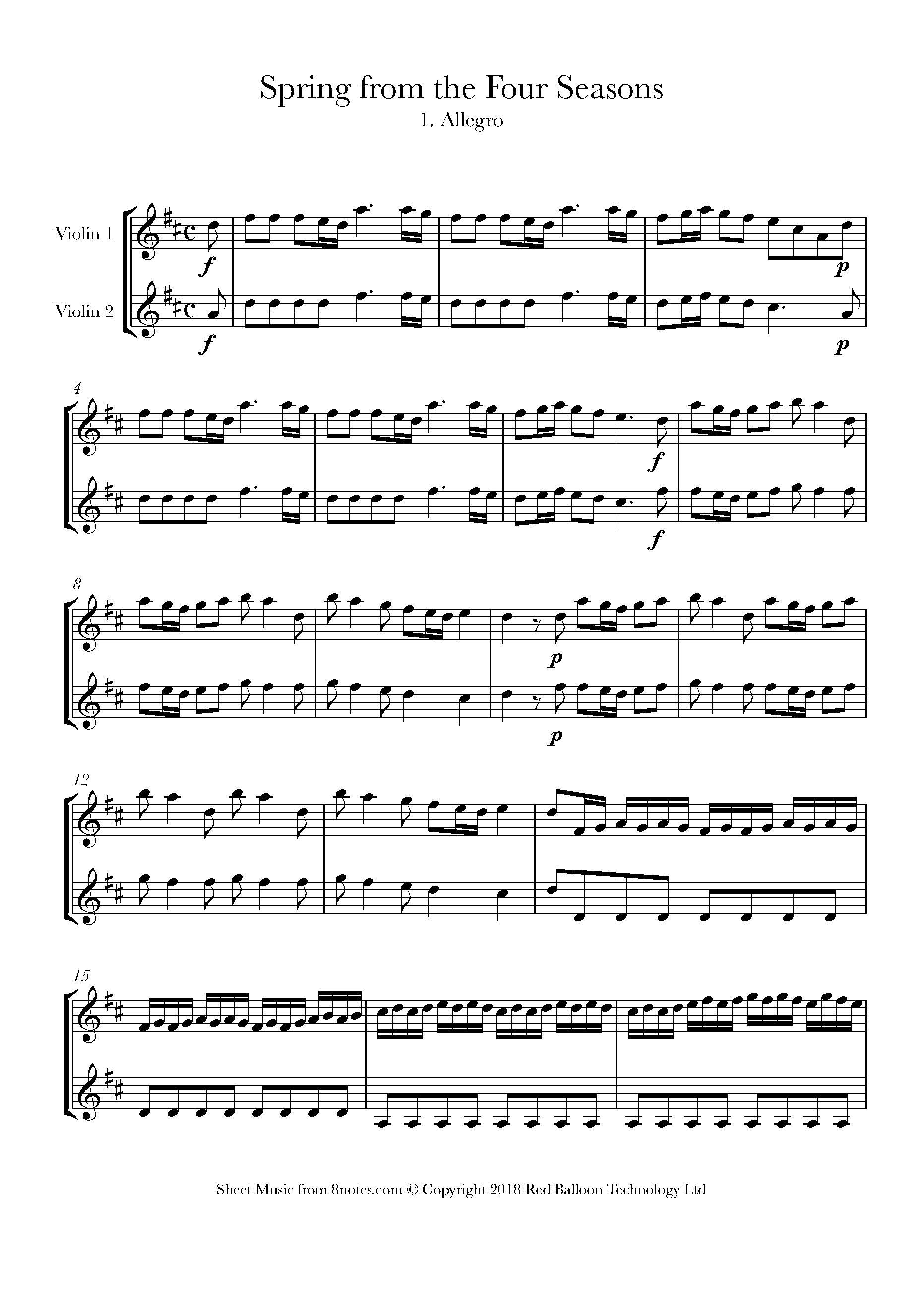 vivaldi - spring from the four seasons 1. allegro sheet music for violin  duet - 8notes.com  8notes