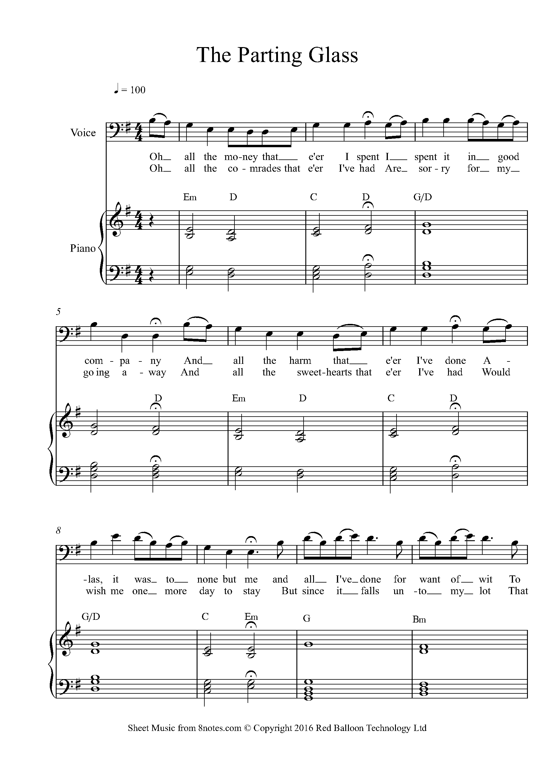 The Parting Glass Sheet music for Voice   15notes.com
