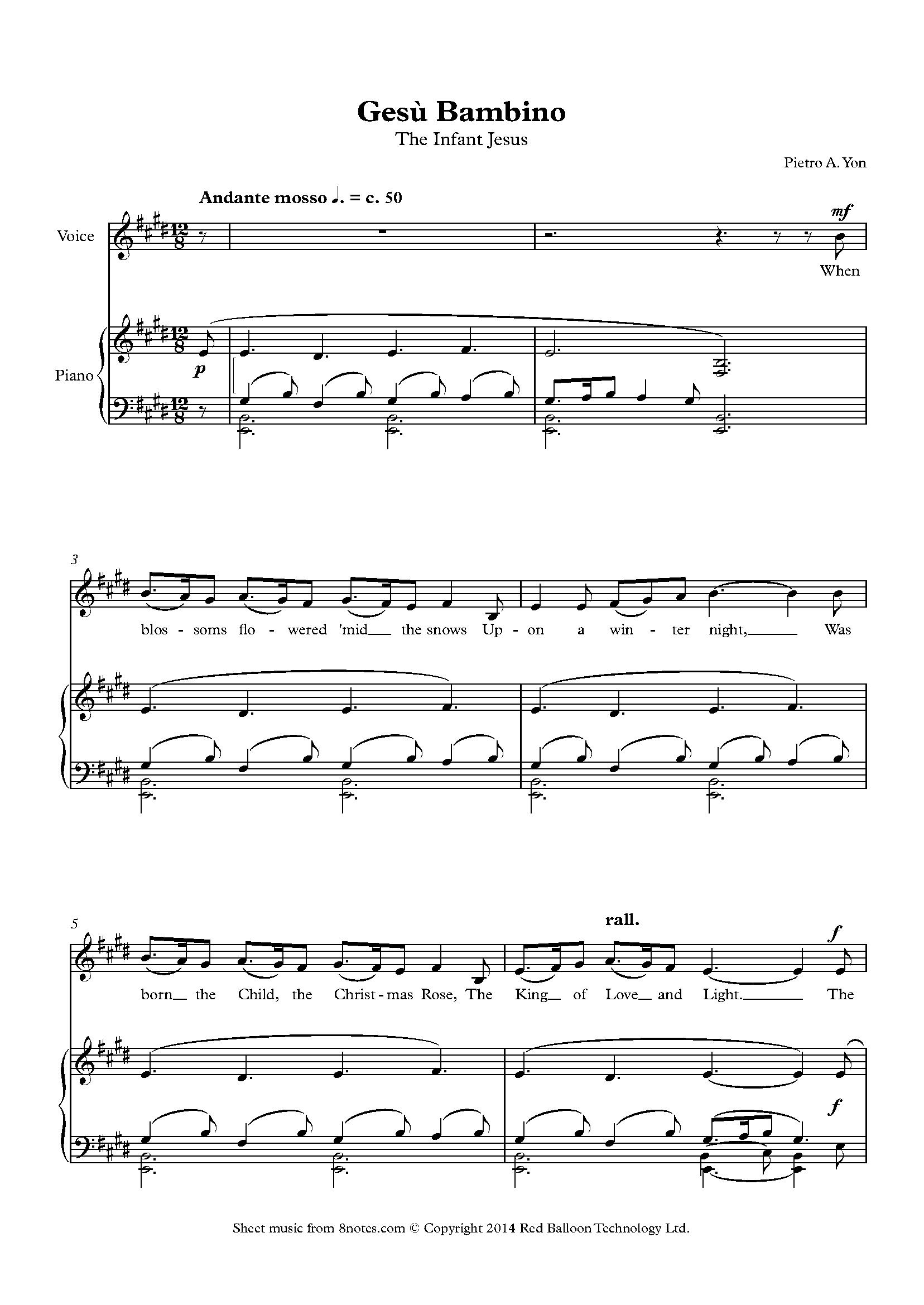 yon pietro - gesu bambino (the infant jesus) sheet music for voice -  8notes.com  8notes