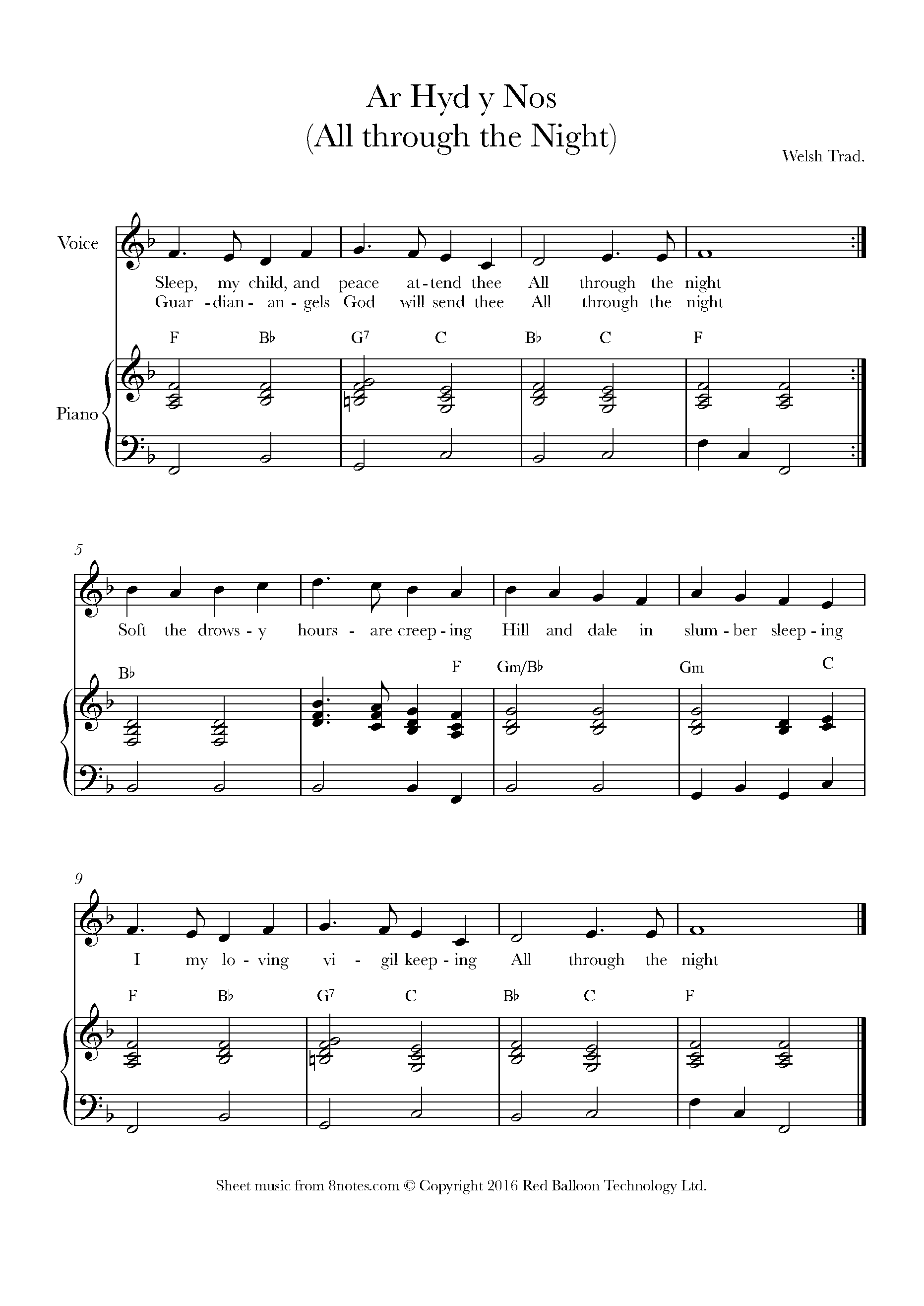 ar hyd y nos - all through the night (traditional welsh) sheet music for  voice - 8notes.com  8notes