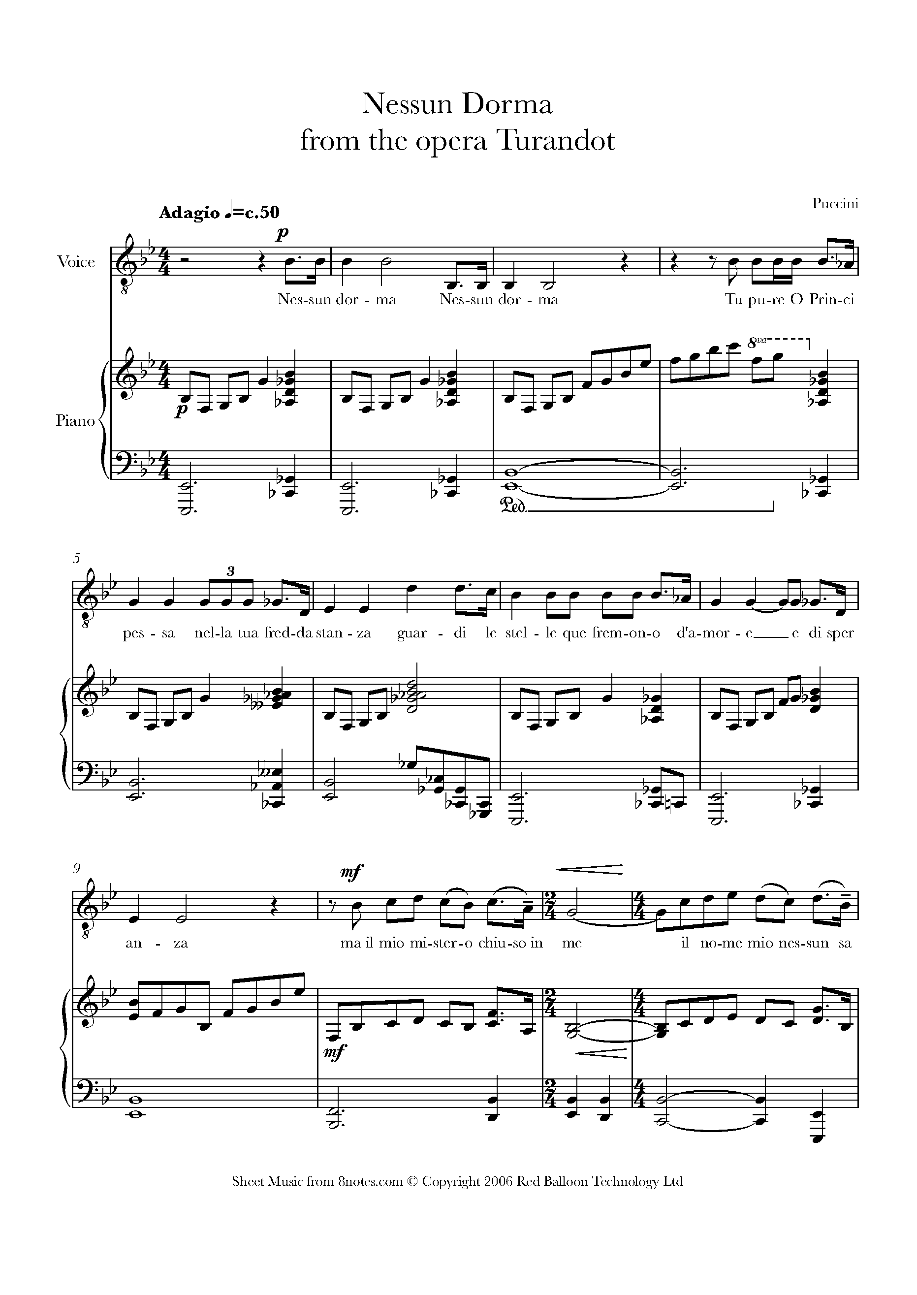 Puccini - Nessun Dorma from Turandot Sheet music for Voice - 8notes.com