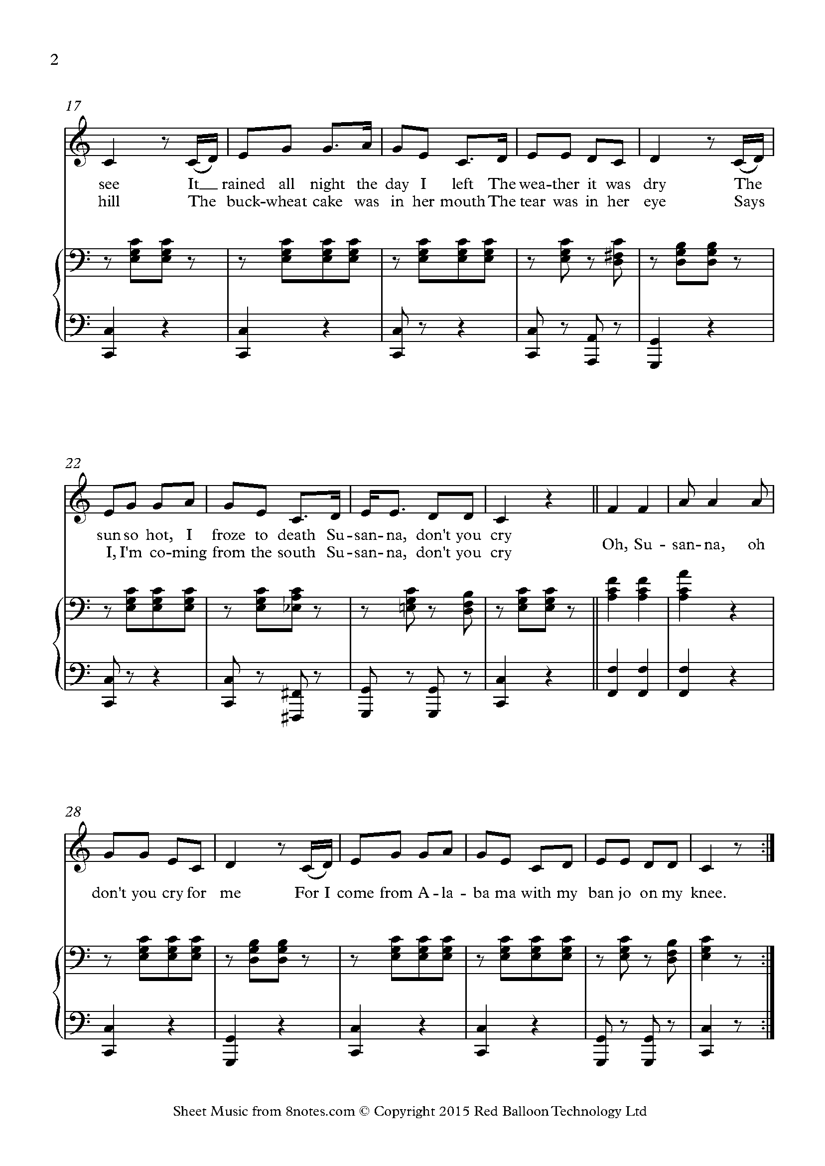 stephen foster - oh susanna sheet music for voice - 8notes.com  8notes