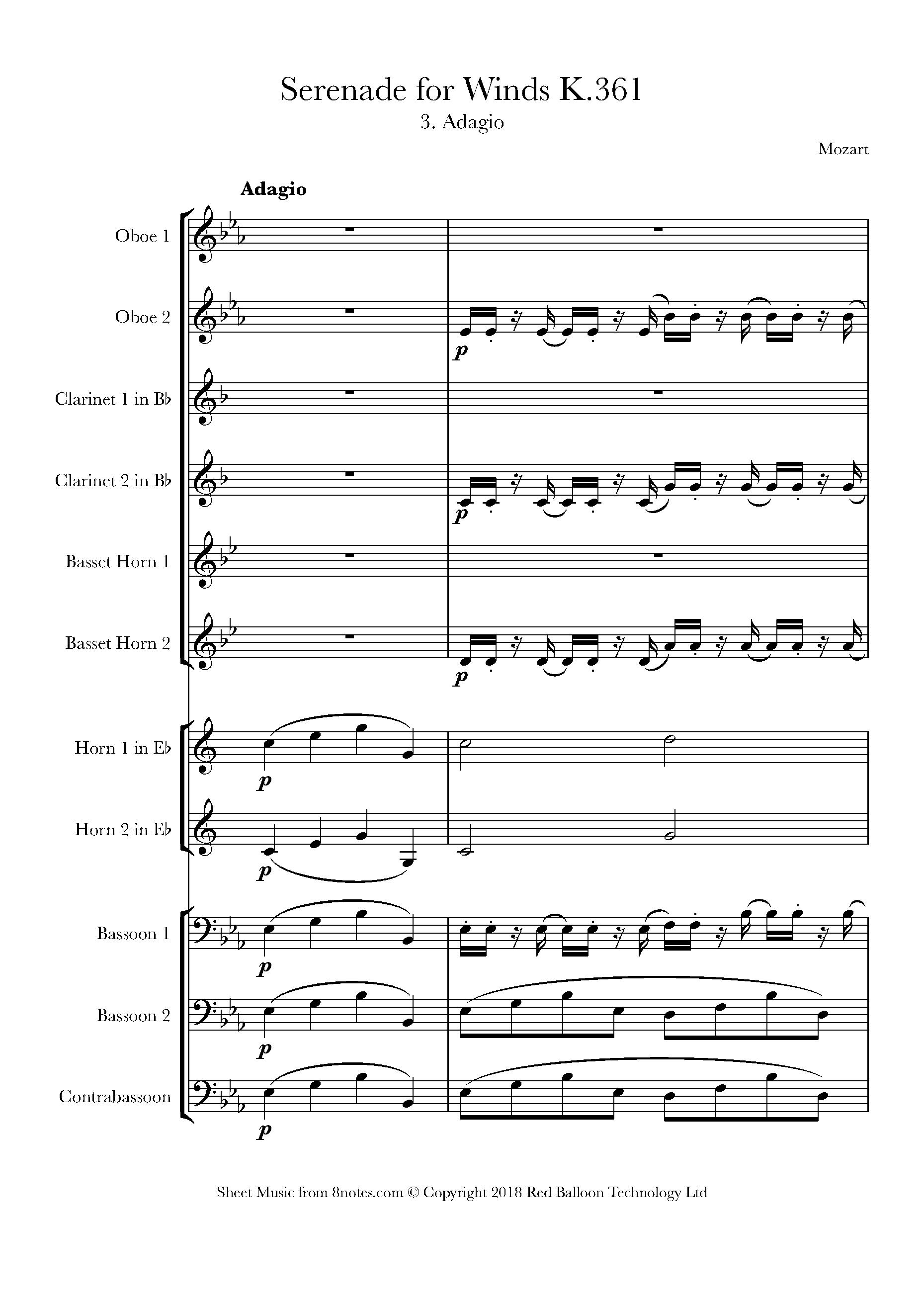 mozart - serenade no. 10 for winds (gran partita), 3rd movement, adagio sheet  music for wind ensemble - 8notes.com  8notes