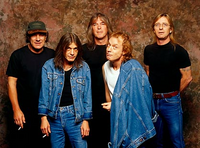From left to right: Singer Brian Johnson, Rhythm Guitarist Malcolm Young, Bass Guitarist Cliff Williams, Lead Guitarist Angus Young, Drummer Phil Rudd.