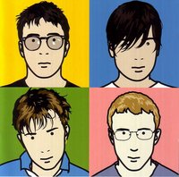Cover of Blur: The Best Of - Clockwise from top left: Coxon, James, Rowntree, Albarn