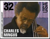 Charles Mingus Stamp issued by the USPS on September 16, 1995.