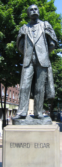 The statue of Edward Elgar at the end of Worcester High Street