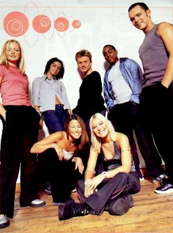 S Club 7. back row left to right: Spearritt, Barrett, Lee, McIntosh, Cattermole.  Front row, Stevens, O