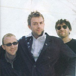 The linup minus Coxon - from left: Dave, Damon and Alex