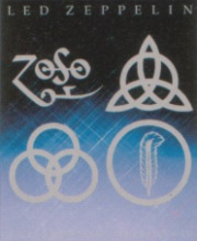 The 4 symbols each standing for a Led Zeppelin member. Top; Left to Right: Jimmy Page, John Paul Jones. Bottom; Left to Right: John Bonham, Robert Plant